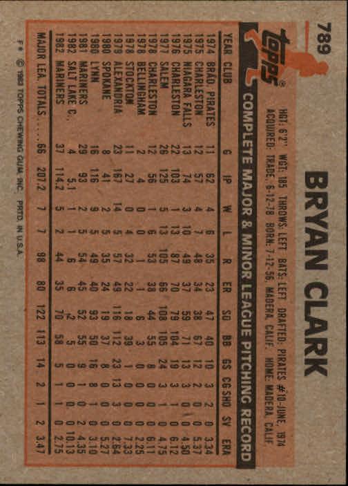 1983 Topps #789 Bryan Clark back image