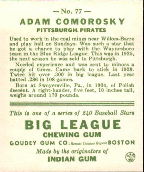 1983 Galasso '33 Goudey Reprint #77 Adam Comorosky back image