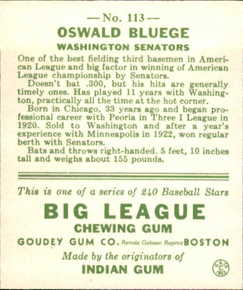 1983 Galasso '33 Goudey Reprint #113 Oswald Bluege back image