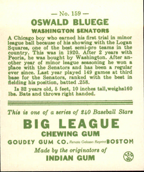 1983 Galasso '33 Goudey Reprint #159 Oswald Bluege back image