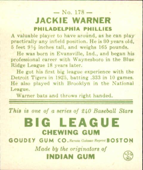 1983 Galasso '33 Goudey Reprint #178 Jackie Warner back image