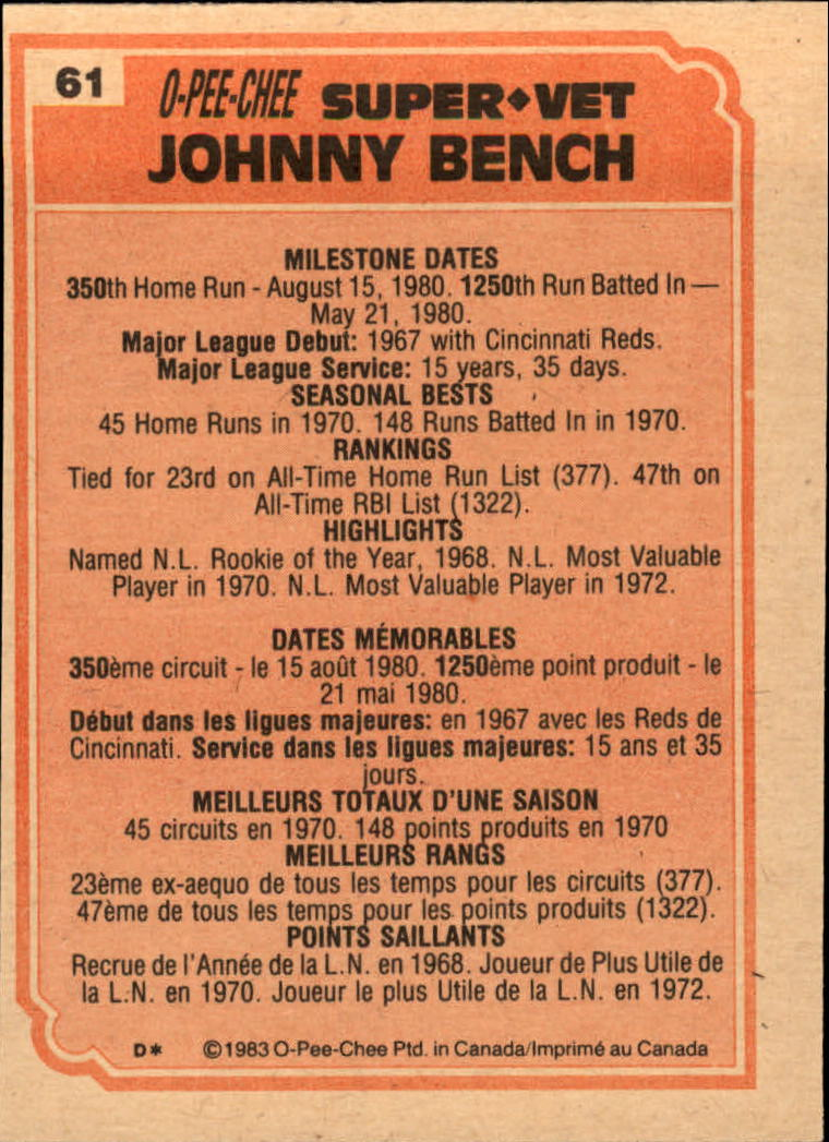 1983 O-Pee-Chee #61 Johnny Bench SV back image