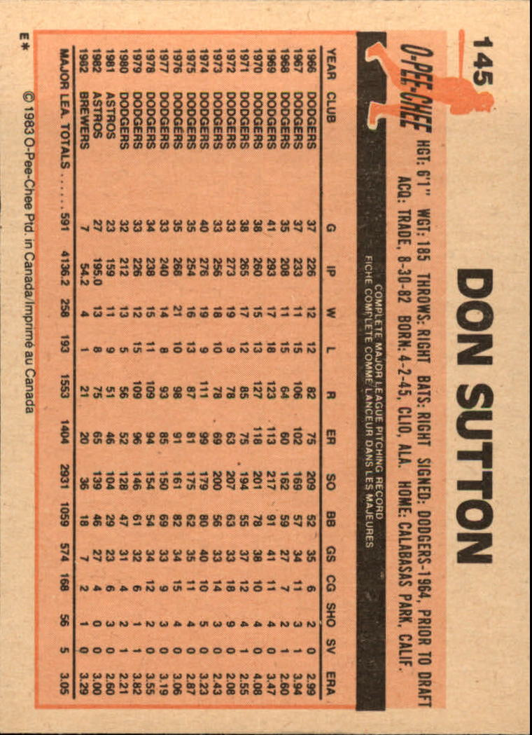 1983 O-Pee-Chee #145 Don Sutton back image