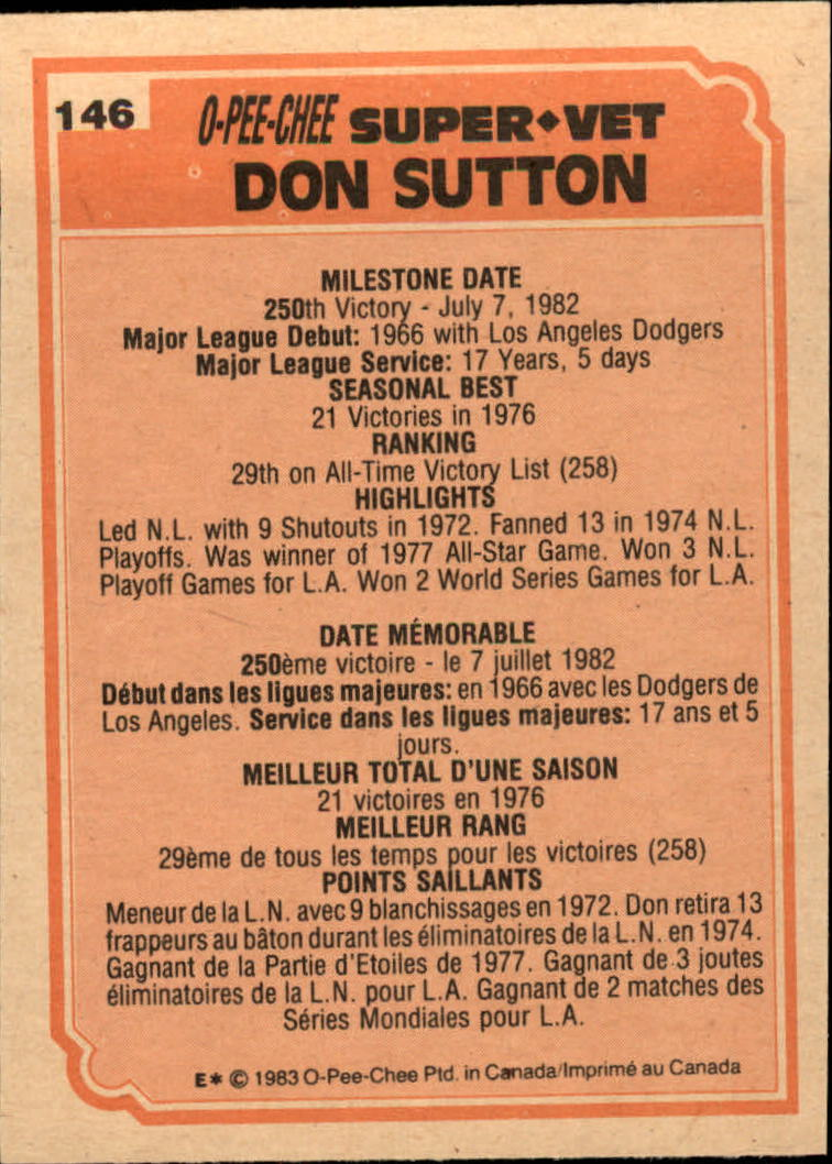 1983 O-Pee-Chee #146 Don Sutton SV back image