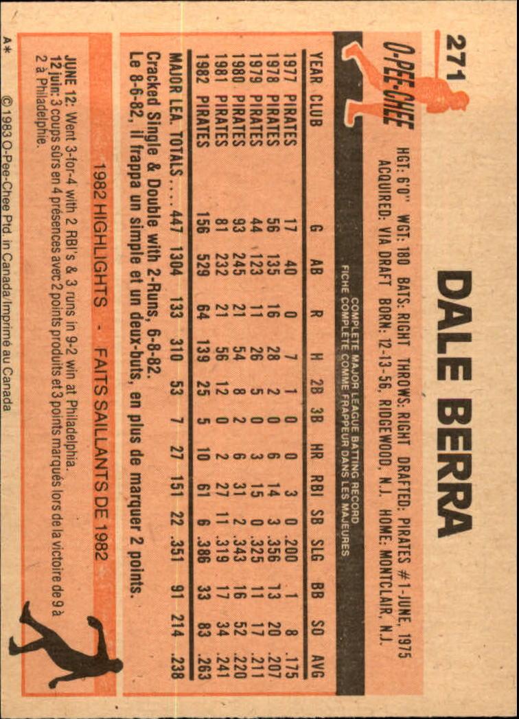 1983 O-Pee-Chee #271 Dale Berra back image