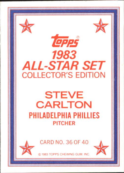 1983 Topps Glossy Send-Ins #36 Steve Carlton back image