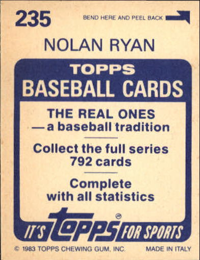 1983 Topps Stickers #235 Nolan Ryan FOIL back image