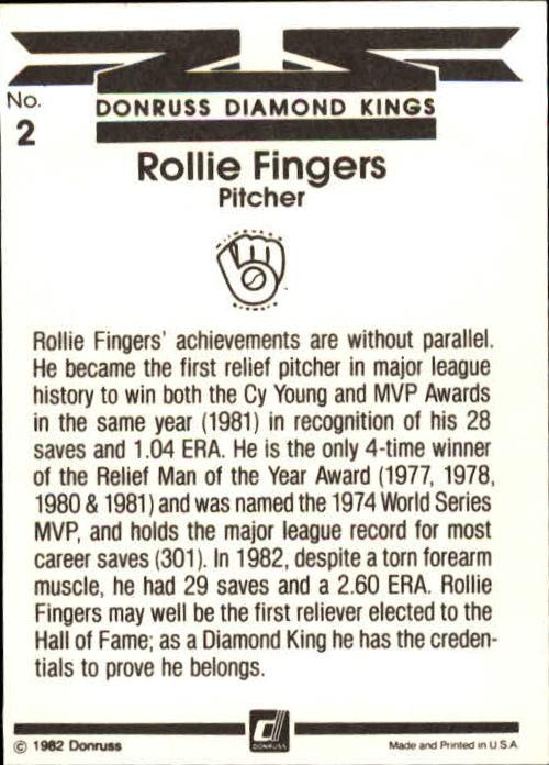 1983 Donruss #2 Rollie Fingers DK back image
