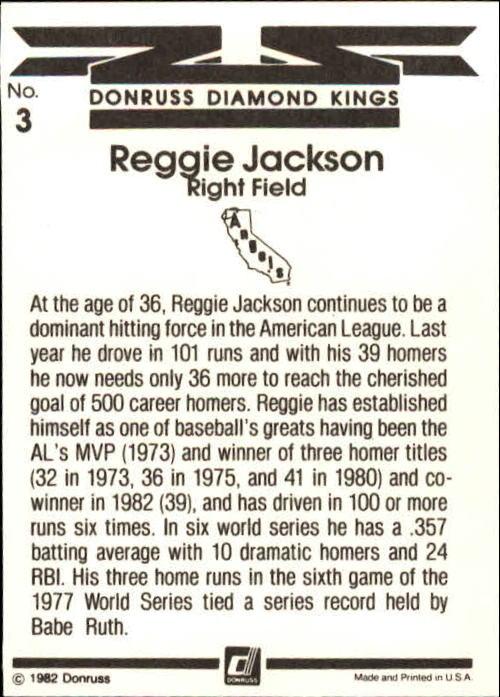 1983 Donruss #3 Reggie Jackson DK back image