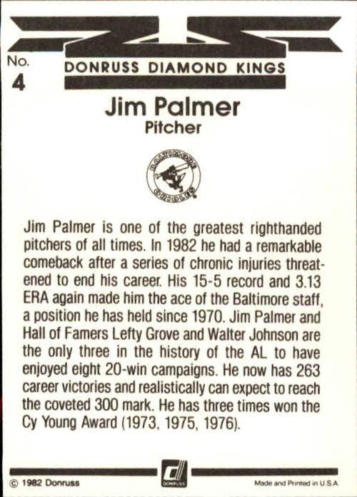 1983 Donruss #4 Jim Palmer DK back image
