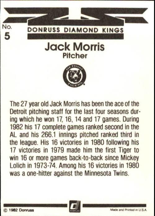 1983 Donruss #5 Jack Morris DK back image
