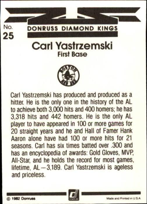 1983 Donruss #25 Carl Yastrzemski DK back image