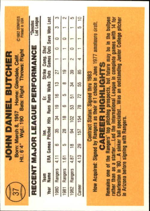 1983 Donruss #37 John Butcher back image