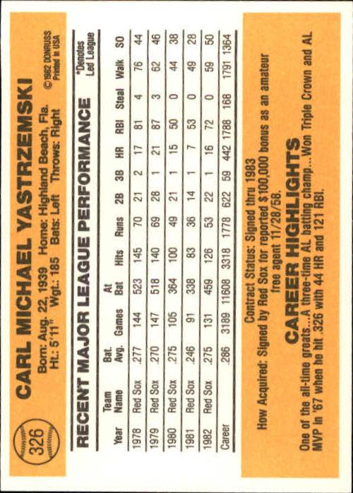 1983 Donruss #326 Carl Yastrzemski back image