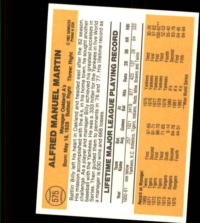 1983 Donruss #575 Billy Martin MG back image