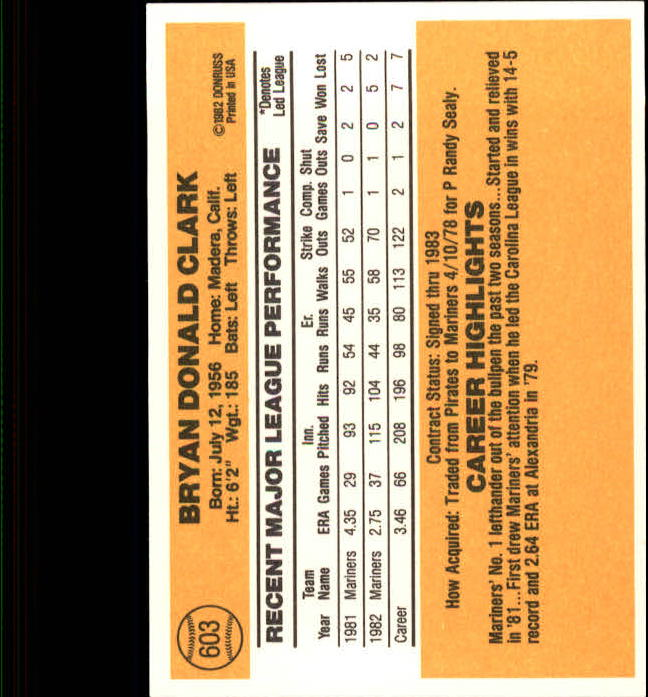1983 Donruss #603 Bryan Clark back image