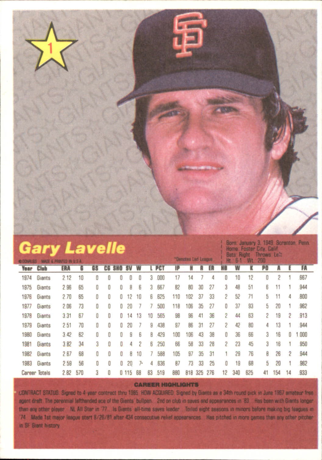 1984 Donruss Action All-Stars #1 Gary Lavelle back image