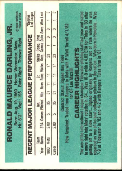 1984 Donruss #30A Ron Darling RC/ERR No number on back back image