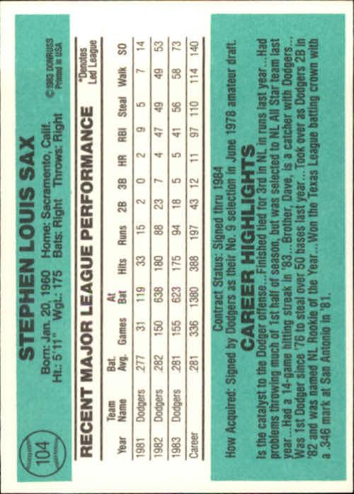 1984 Donruss #104 Steve Sax back image