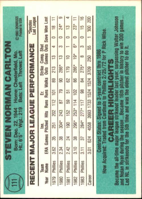 1984 Donruss #111 Steve Carlton back image