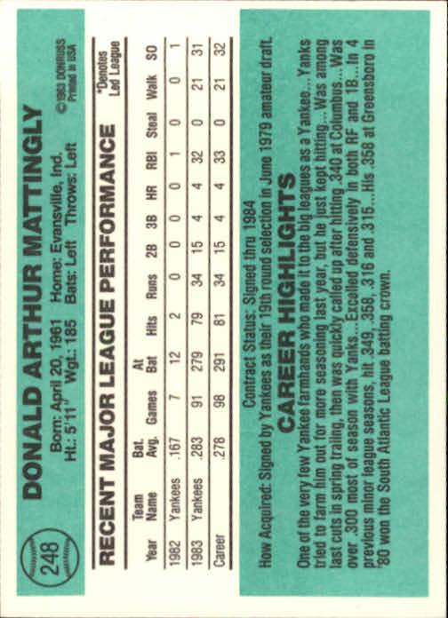1984 Donruss #248 Don Mattingly RC/UER traiing on back back image