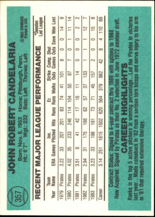 1984 Donruss #357 John Candelaria back image