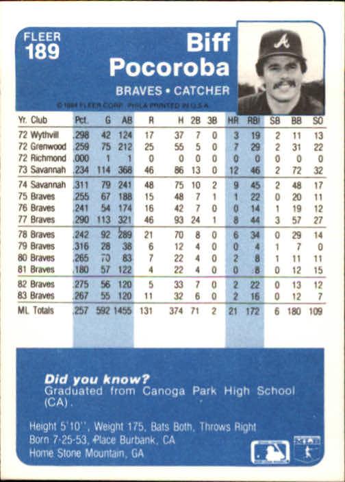 1984 Fleer #189 Biff Pocoroba back image