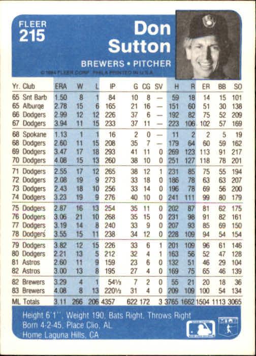 1984 Fleer #215 Don Sutton back image