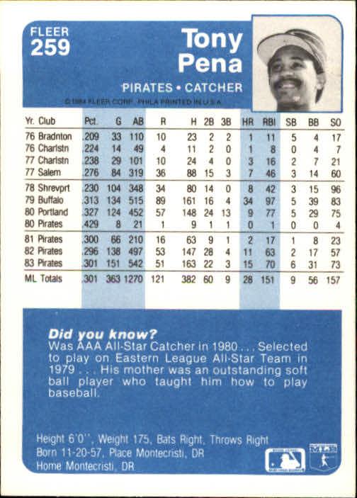 1984 Fleer #259 Tony Pena back image