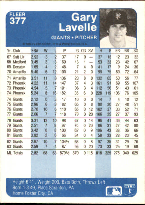 1984 Fleer #377 Gary Lavelle back image