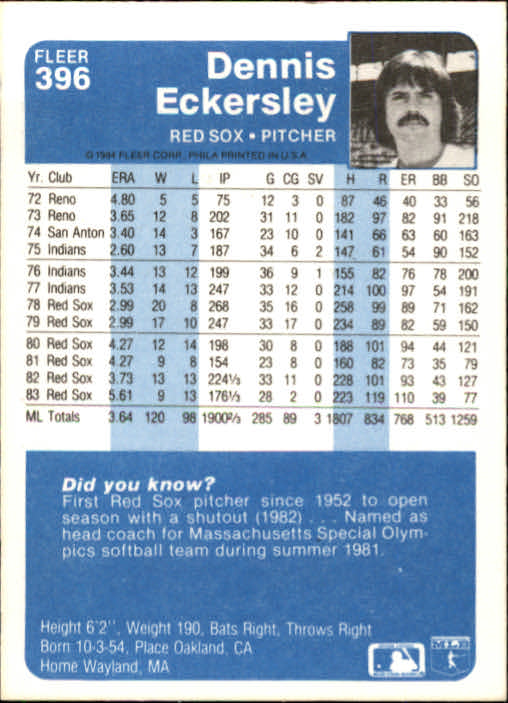 1984 Fleer #396 Dennis Eckersley back image