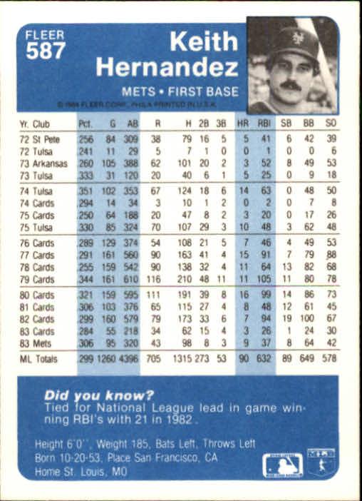 1984 Fleer #587 Keith Hernandez back image