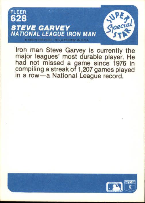 1984 Fleer #628 Steve Garvey IA back image