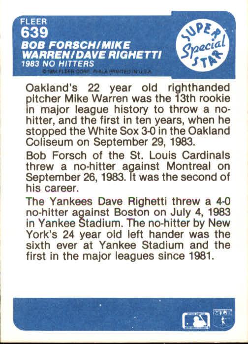 1984 Fleer #639 Dave Righetti/Mike Warren/Bob Forsch back image