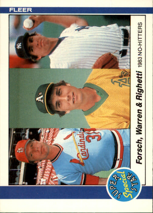 1984 Fleer #639 Dave Righetti/Mike Warren/Bob Forsch