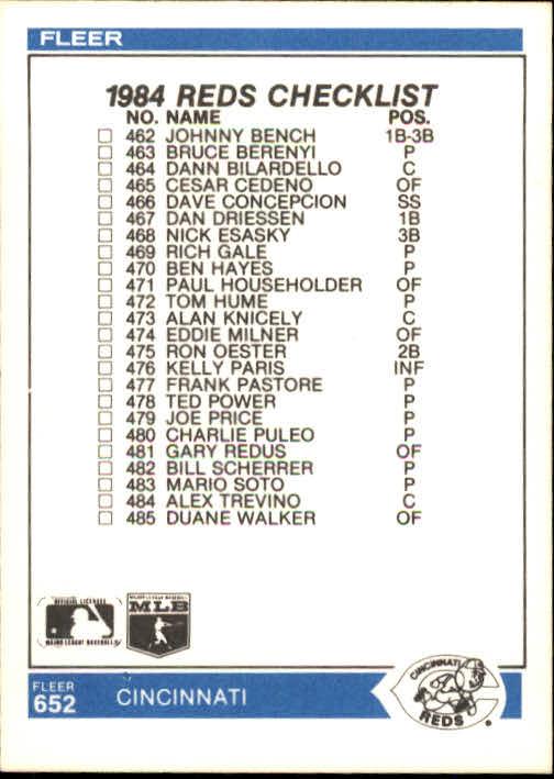 1984 Fleer #652 CL: Yankees/Reds/Billy Martin MG back image