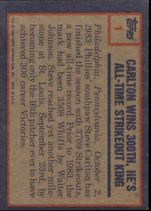 1984 Topps #1 Steve Carlton HL back image