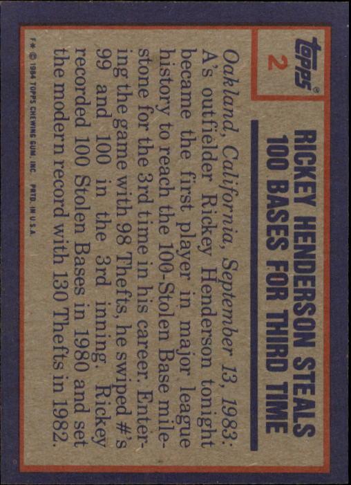 1984 Topps #2 Rickey Henderson HL back image