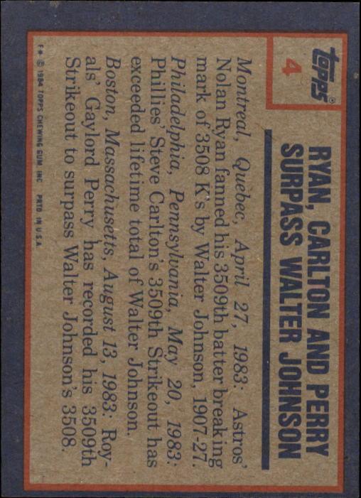 1984 Topps #4 N.Ryan/Carlton/Perry HL back image