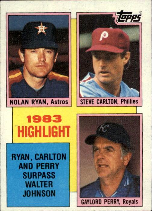1984 Topps #4 N.Ryan/Carlton/Perry HL