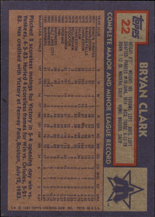 1984 Topps #22 Bryan Clark back image