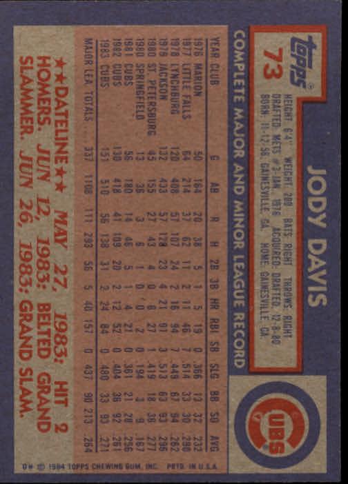 1984 Topps #73 Jody Davis back image