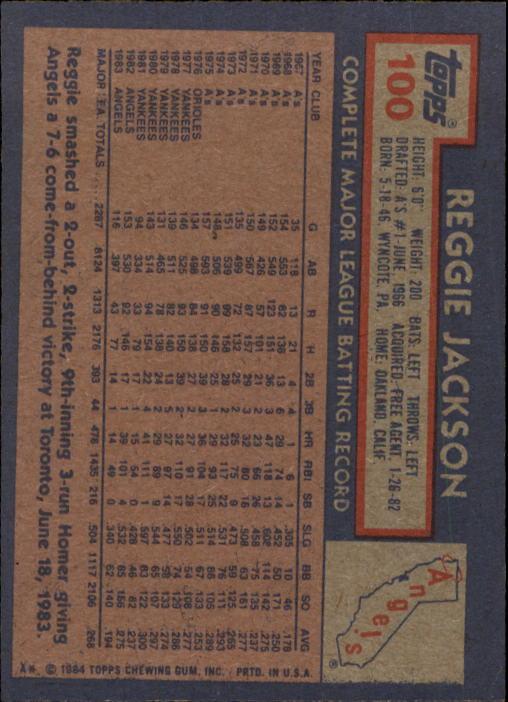 1984 Topps #100 Reggie Jackson back image