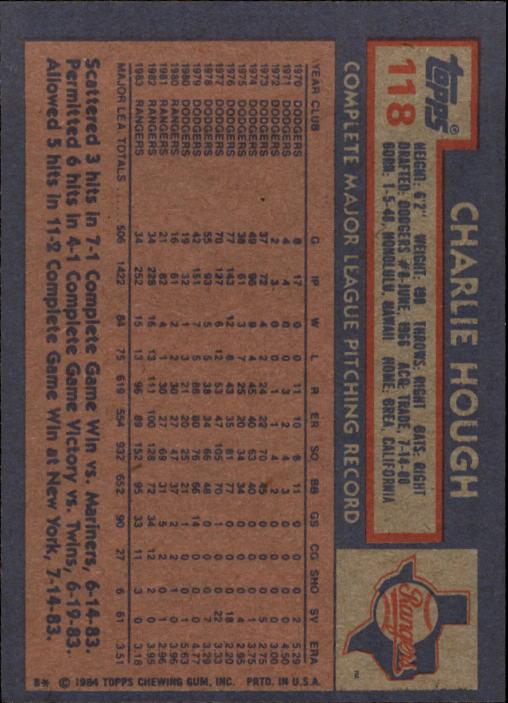 1984 Topps #118 Charlie Hough back image