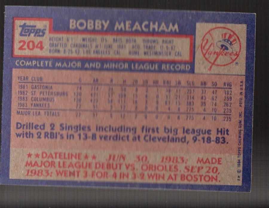 1984 Topps #204 Bobby Meacham back image