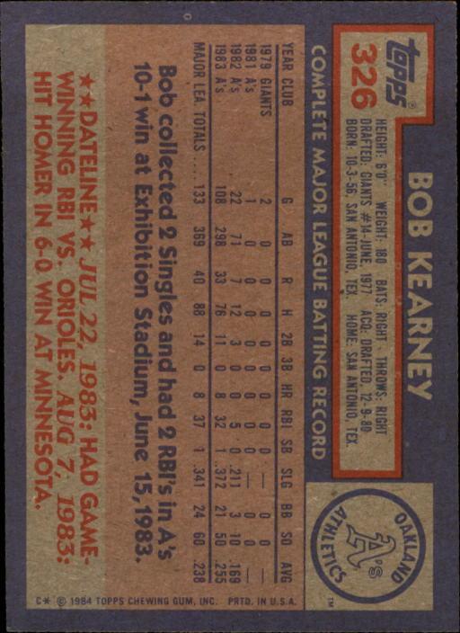 1984 Topps #326 Bob Kearney back image