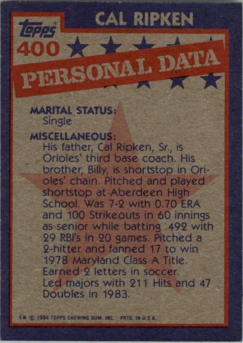 1984 Topps #400 Cal Ripken AS back image