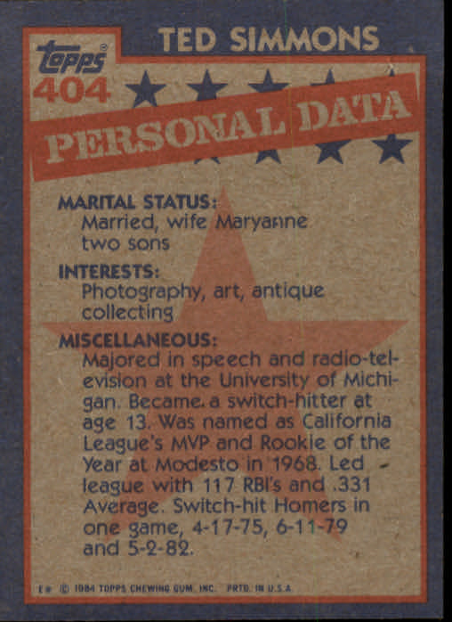 1984 Topps #404 Ted Simmons AS back image