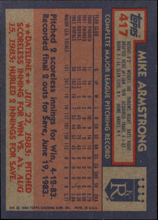 1984 Topps #417 Mike Armstrong back image
