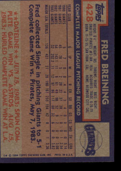 1984 Topps #428 Fred Breining back image